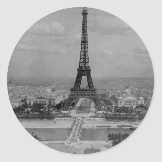 France,  Paris  Eiffel tower, retro  photo Classic Round Sticker