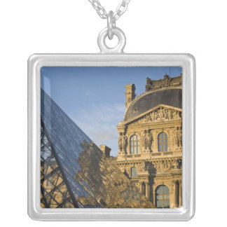 France, Paris, Louvre Museum and the Pyramid, Silver Plated Necklace