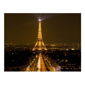 France, Paris. Nighttime view of Eiffel Tower Postcard