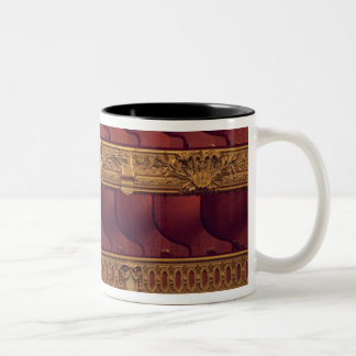 France, Paris. Partial view of balcony seating Two-Tone Coffee Mug