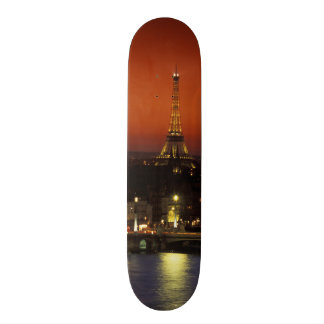 France, Paris Sunset view of Eiffel Tower and Custom Skate Board