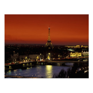 France, Paris Sunset view of Eiffel Tower and Postcard