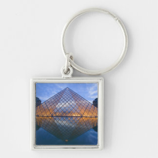France, Paris. The Louvre at twilight. Credit Silver-Colored Square Keychain
