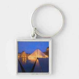 France, Paris. The Louvre museum at twilight. Silver-Colored Square Keychain