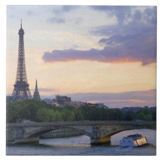 France,Paris,tour boat on River Seine,Eiffel Ceramic Tile