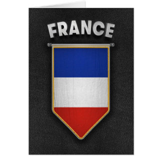 France Pennant with high quality leather look Card