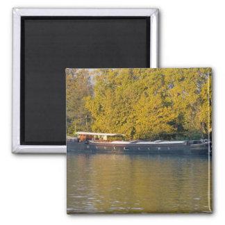 France, Rhone River, near Avignon, barge along Magnet
