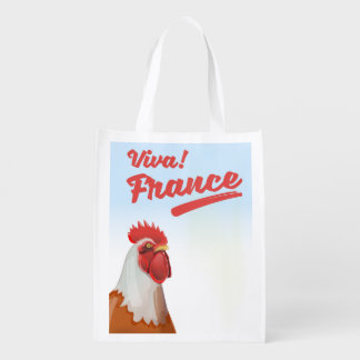 France Rooster travel poster Reusable Grocery Bag