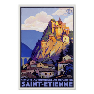 France Saint Etienne Cornillon Vintage Travel Poster