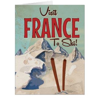 France Skiing Vintage travel poster Card
