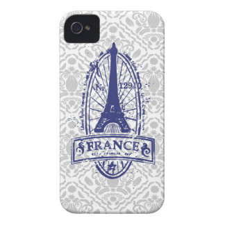 France stamp, french art gray damask iPhone 4/4s iPhone 4 Case-Mate Case