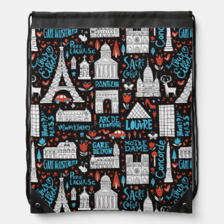 France | Symbols Pattern Drawstring Bag
