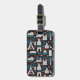 France | Symbols Pattern Luggage Tag