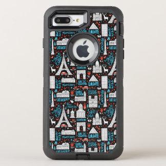 France | Symbols Pattern OtterBox Defender iPhone 7 Plus Case