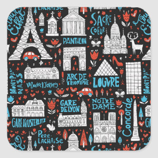 France | Symbols Pattern Square Sticker