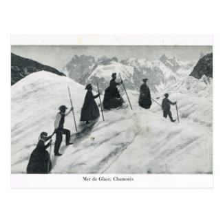 France, Tourists on the Mer de Glas, Chamonix Postcard