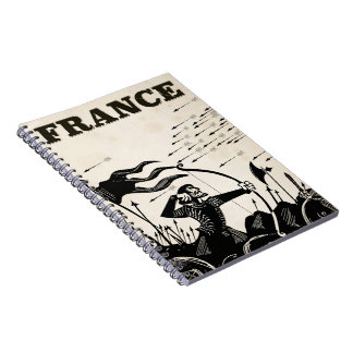 France vintage travel poster. classic medieval car notebooks