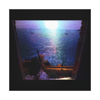 France Waterfront Window Scene Photo Canvas Print