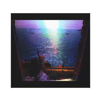 France Waterfront Window Scene Photo Canvas Print