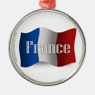 France Waving Flag Metal Ornament