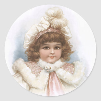 Frances Brundage - Little Girl with Fur Collar Classic Round Sticker