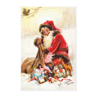 Frances Brundage - Santa Claus with Toy Stretched Canvas Print