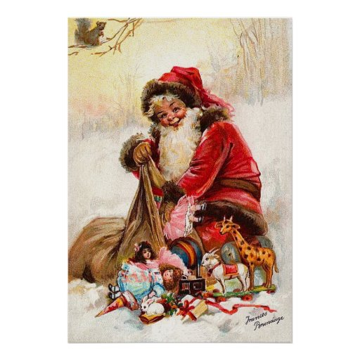 Frances Brundage - Santa Claus with Toy Posters