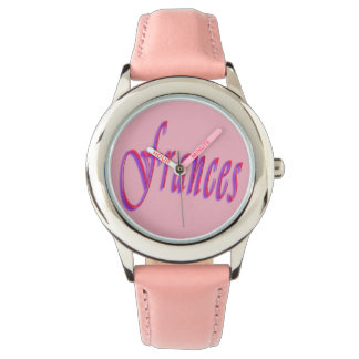 Frances, Name, Logo, Girls Pink Leather Watch