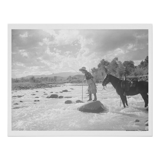 Frances Phelps Belden fly fishing in the river Poster