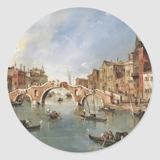 Francesco Guardi-Three Arched Bridge at Cannaregio Classic Round Sticker