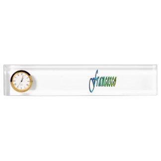 Francesco, Name, Logo, Desk Nameplate With Clock.