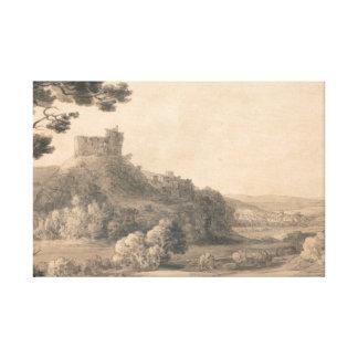 Francis Towne - Oakhampton Castle Canvas Print