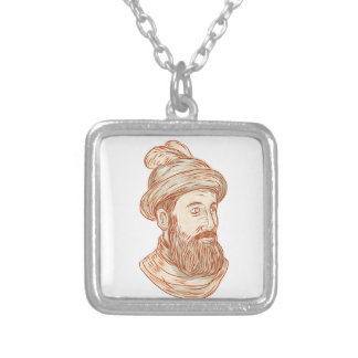 Francisco Pizarro Drawing Silver Plated Necklace