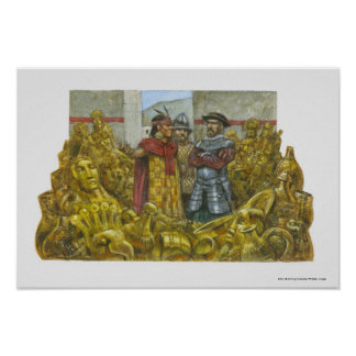 Francisco Pizarro next to Inca Emperor Atahualpa Print