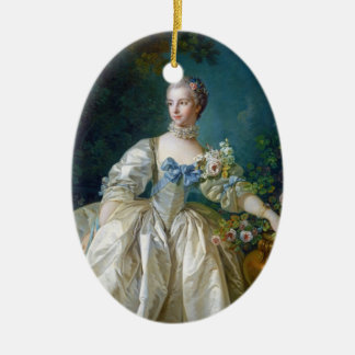 FRANCOIS BOUCHER - MADAME BERGERET portrait art Ceramic Oval Ornament