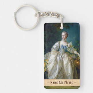 FRANCOIS BOUCHER - MADAME BERGERET portrait art Double-Sided Rectangular Acrylic Keychain