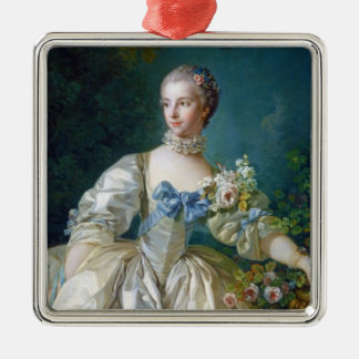 FRANCOIS BOUCHER - MADAME BERGERET portrait art Silver-Colored Square Ornament