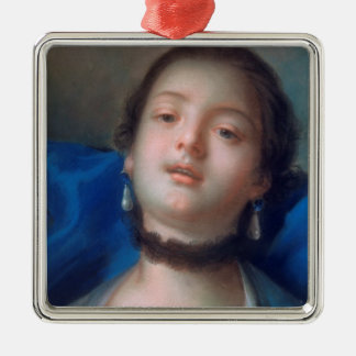 Francois Boucher Portrait of Young Woman lady art Silver-Colored Square Ornament