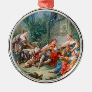 francois boucher shepherd's idyll rococo scenery Silver-Colored round ornament