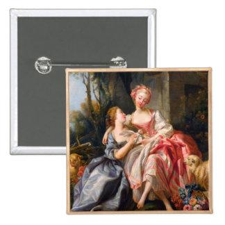 Francois Boucher The Billet Dou rococo ladies art Button