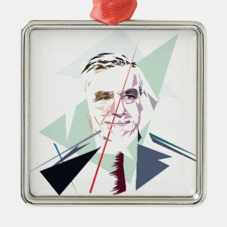Francois Fillon after Pénélope Spoils Silver-Colored Square Ornament