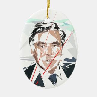 Francois Fillon before Pénélope Spoils Ceramic Oval Ornament