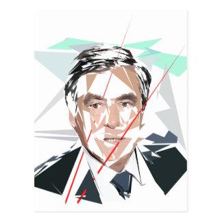 Francois Fillon before Pénélope Spoils Postcard