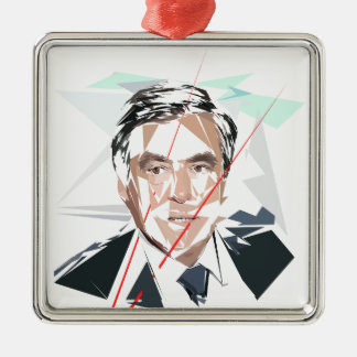 Francois Fillon before Pénélope Spoils Silver-Colored Square Ornament