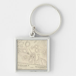 Franconia, Lincoln, Woodstock Silver-Colored Square Keychain