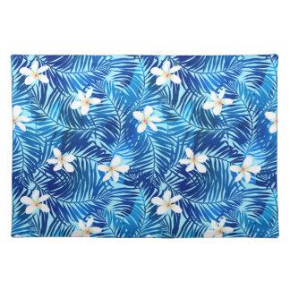 Frangipani and blue palm leaf placemat