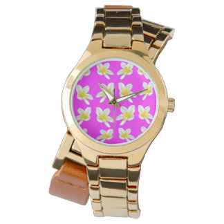 Frangipani Blush,  Ladies Gold Wrap Watch