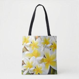 Frangipani Bouquet, Full Print Shopping Bag. Tote Bag