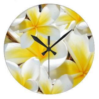 Frangipani Bouquet, Large Round Wall Clock. Large Clock