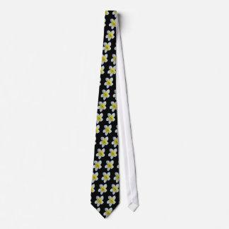 Frangipani Fever Yellow Beach Black Wedding Tie